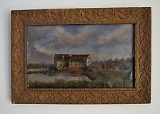 Charles Woodruffe Listed Artist oil on Canvas Painting Suffolk River Scene