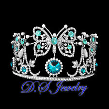 Blue & Clear Swarovski Crystal Rhinestones Hollow Lacy Butterfies Crown / Tiara