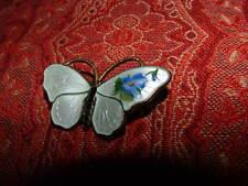 BUTTERFLY BROOCH BY OPRO DENMARK - STERLING & WHITE  ENAMEL WITH BLUE FLOWER
