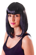 Ladies Shoulder Length Black Wig With Fringe Cheerleader Katy Perry  Fancy Dress