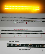 2 AMBER BRIGHT 12 inch 36 LED Waterproof Flexible Light Strip BLACK PCB board