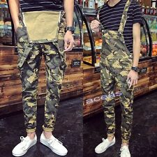 Hot Fashion Men's Camo Slim Fit Pants Suspender Trousers Overalls Skinny Jeans