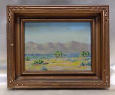 Old Signed M. Gande Mountain Desert Oil Painting on Board in Antique Wood Frame