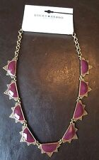 NWT Lucky Brand Necklace Purple Semi Precious Stones Gold Tone Hardware JLD2142