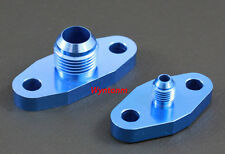 T3 Turbo 4AN Male Oil Feed +10 AN Oil Drain Aluminum Adapter Anodized Blue T6061