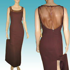 Dramatic CHOCOLATE Crepe & NET BACK Formal Gown Dress * YAIR 10 NWT Flare Skirt