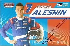 2016 MIKHAIL ALESHIN signed INDIANAPOLIS 500 PHOTO CARD INDY CAR SMP RACING