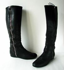 MIU MIU Prada Black Genuine Leather Knee High Flat Boots Side Zipper 6.5 36.5