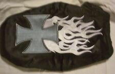 Gas Powered MINI CHOPPER FLAMING IRON CROSS SEAT COVER by APC #6093R12 Very Nice