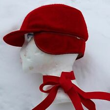 Vintage Vermont Red Cap with Ear Flaps Unisex Adult S 50-60s WOOL Lined EUC