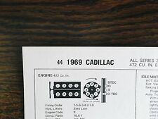 1969 Cadillac EIGHT Series All Models 375 HP 472 Cubic Inch V8 Tune Up Chart