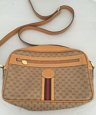 Authentic GUCCI Brown Leather Monogram Handbag Shoulder Purse Red/Green Stripe