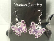 Handmade Purple Enamel Rhinestone Butterfly Earrings - Fashion Jewelry