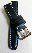22mm THICK LEATHER STRAP FOR SPORT WATCH  ( BLACK / WHITE STICH)