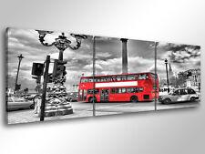 Quadro Moderno 3 pz. LONDON BUS cm 150x50 arredamento città stampa tela londra