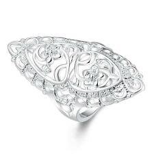 Unique & Elegant Pure 925 Sterling Silver Flower Shape Ring Size: 8 #013-M