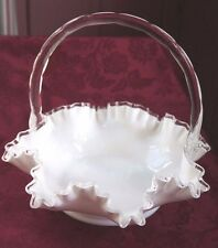 Vintage White Milk Glass Basket with Clear Applied Handle Ruffle Edge