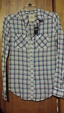 NWT Hollister Juniors XS Long Sleeve Plaid Button Down Shirt White Blue Pink