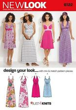NEW LOOK SEWING PATTERN MISSES' JUST 4 KNITS HALTER & SUN DRESS 8 - 18  6122