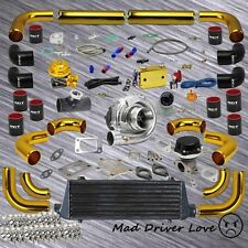 T3/T4 TURBO KIT INTERCOOLER 12PC GOLD PIPING 1.6L 1.8L 2.0L 2.2L 2.3L I4 ENGINE