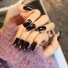 24pcs Dark Mirror Reflective False Nails Long Square Full Artificial Nail Tips