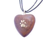 Solid Wood Hand Carved Heart With Brass Paw Wood Urn Pendant for Pet Cremains