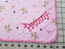 New Custom Receiving Blanket Girls Baby Pink Fawn Deer Hearts Personalized Name