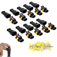 10sets 2 Pin Way Sealed Waterproof Electrical Wire Connector Plug Car Auto Set
