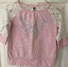 Beautees 3/4 Sleeve Elbow Layered Girls Shirt Top Pink Lace Butterfly Bling Sz L