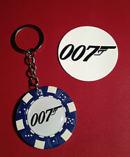 JAMES BOND 007   POKER CHIP KEY RING, & FREE PHONE STICKER