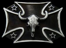 WESTERN LONGHORNS RANCHER BIG CROSS STEER BELT BUCKLE BOUCLE DE CEINTURE