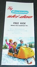 RARE VINTAGE 1965 SKI-DOO SNOWMOBILE TRI-FOLD SALES BROCHURE ALMOST MINT  (970)