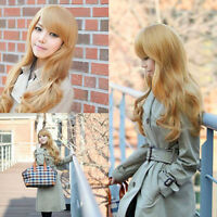 Deluxe Golden Curly Lady Long Sexy Blonde Wavy Party Hair Cosplay Hairpiece Wig