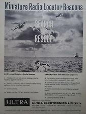 4/1962 PUB ULTRA ELECTRONICS RADIO LOCATOR BEACON SAR SEARCH RESCUE PILOT AD