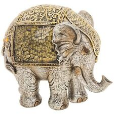 Large Gold & Silver Crackle Elephant Statue Ornament Figurine