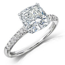 1.25Ct Cushion Cut Solitaire Diamond Engagement Ring with Accents F,VVS2 GIA 14K