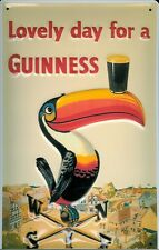 GUINNESS TOUCAN LOVELY Vintage Metal Pub Sign | 3D Embossed Steel | Home Bar