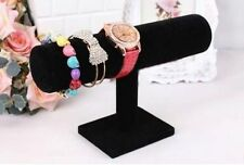 Black Velvet Bracelet Chain Watch T-Bar Rack Jewelry Hard Display Stand Holder