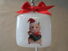 "Unique Handmade Hamster & Gift 3"" Square Glass Ornament, Made In The USA!, NEW!"