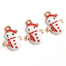 10pcs Red&White Enamel Gold Plated Snowman XMAS Charms Alloy Pendants Findings C