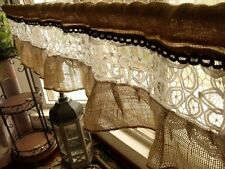 "54"" French vintage lace -Shabby Rustic Chic BURLAP RUFFLED Valance Curtain White"