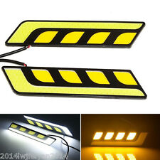 2in1 White Car LED Daytime Running Light Fog Driving Lamp DRL+Amber Turn Signal