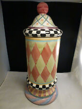 MacKenzie Childs Victoria & Richard Lidded Cylindrical Canister 1994