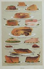 OLD ANTIQUE PRINT MRS BEETON c1893 COOKING COOKERY MEAT DISHES PRINTED COLOUR
