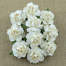 Mulberry Paper Flowers 5 x COTTAGE ROSES - WHITE - 25mm - Cardmaking & Crafts