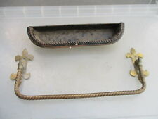 Antique Brass Pew Rail Umbrella Holder Towel Rail Church Pot Victorian Fleur Old
