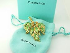 Tiffany & Co Large 18k Yellow Gold Green Enemal Flower Leaf Branch Brooch Pin