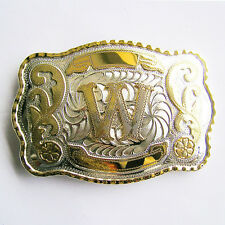 "Initial ""W"" Letter Large Gold & Silver Rodeo Western Cowboy Metal Belt Buckle"