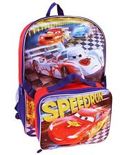 "DISNEY CARS McQUEEN 16"" Full-Size Backpack w/Detachable Insulated Lunch Tote Box"