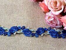 Blue & Green Embroidered Rose Lace Trim 2 cm #6BE379B 1 metre
